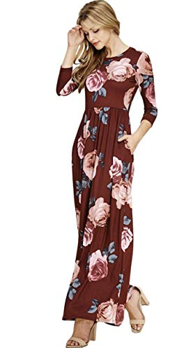 Reborn J Floral Babydoll Maxi Dress with Pockets and 3/4 Length Sleeves