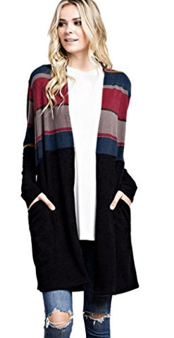 Mittoshop Women's Multi-Colored Striped Long Open Knit Cardigan with Pockets