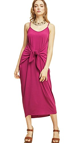 Entro Women's Solid Colored Casual Knit Maxi Dress with Spaghetti Straps and Front Waist Tie