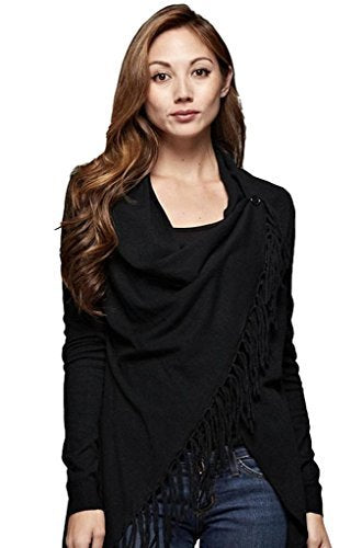 Love Stitch Women's Wrap Cardigan with Fringe Detail