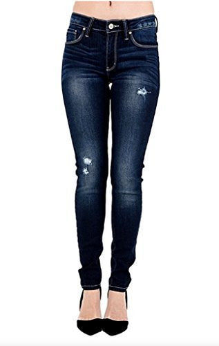 Kan Can Women's Mid Rise Destroyed Skinny Jeans Dark Wash KC7205D