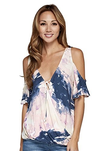 Love Stitch Women's Multi-Colored Tie Dye Cold Shouldered Short Sleeve V Neck Top