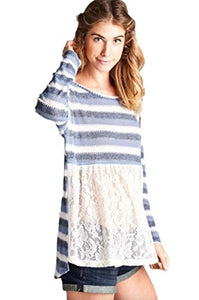 Oddi Women's Long Sleeve Striped Knit Hi Low Tunic with Lace Front
