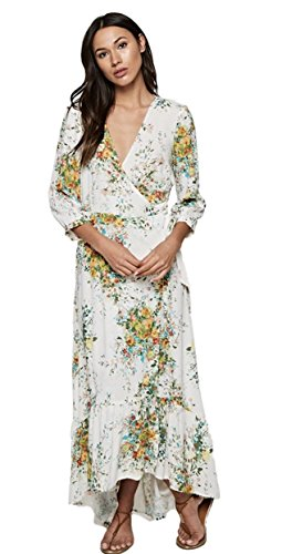 LOVE STITCH Women's Floral V-Neck Wrap Maxi Dress with 3/4 Sleeves and Ruffle Bottom Hi-Low Hem