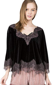 POL Clothing Women's Velvet 3/4 Length Sleeve Lounge Top with Eyelash Lace Trim