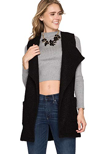 She + Sky Women's Sleeveless Faux Fur Vest with Pockets and Belt