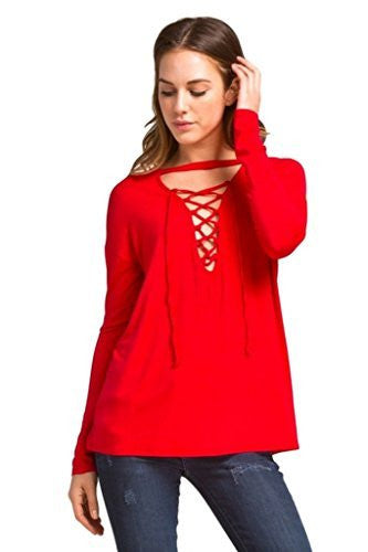 Cherish Long Sleeve Top with Lace-Up Neckline and Choker Detail