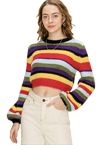 HYFVE Women's Striped Cropped Pullover Sweater with Balloon Sleeves