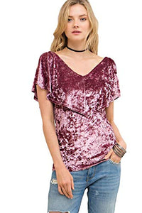 Entro Women's Sleeveless V-Neck Crushed Velvet Tunic