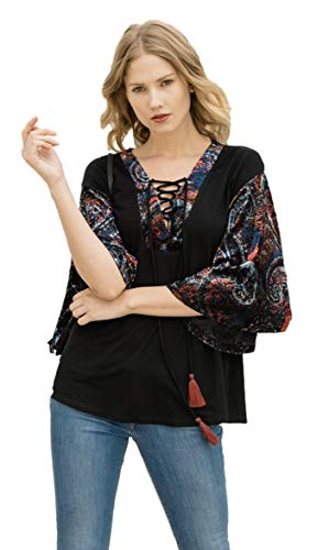 Mystree Women's Burnout Velvet Kimono Sleeve Lace Up Tunic Top