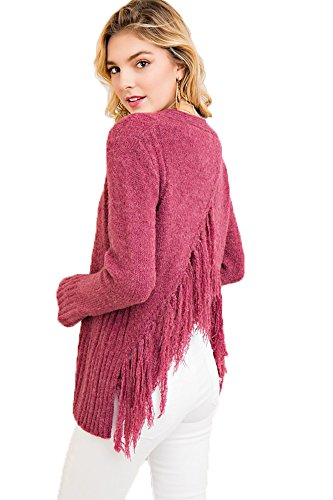 Entro Women's V-Neck Sweater with Strappy Neckline and Fringe Back