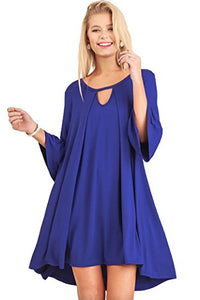 Umgee Women's Solid 3/4 Sleeve Mini Bell Sleeved Dress with Keyhole Neckline Tunic