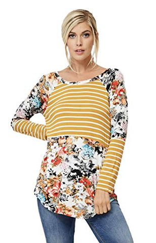 a.gain Women's Made in USA Long Sleeve Knit Striped and Floral Color Block Crew Neck Casual Tunic
