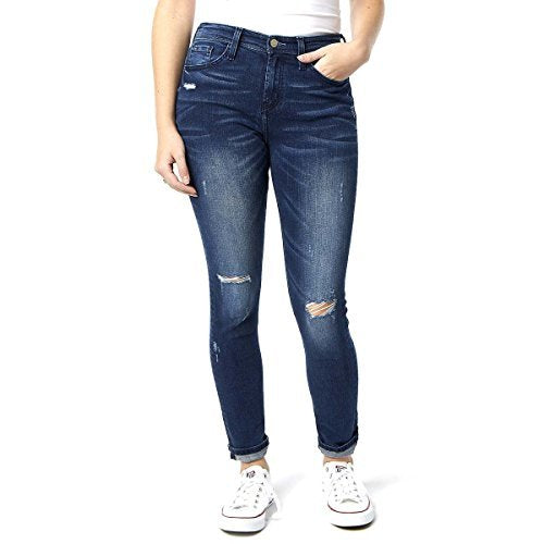 Flying Monkey Women's Jeans Distressed Dark Wash Skinny High Rise