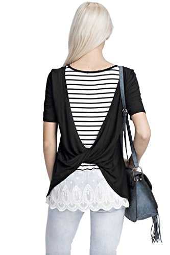 12pm by Mon Ami Women's Casual Short Sleeve Knit Top with Twist Back and Lace Trim