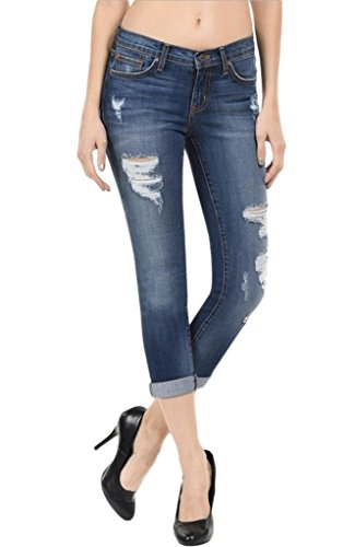 Angry Rabbit Women's Premium 5 Pocket Destroyed Cropped Jeans