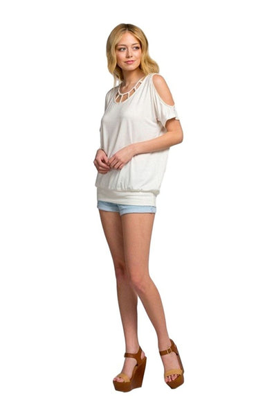 Cherish Women's Short Sleeve Cold Shoulder Knit Tunic with Strap Details