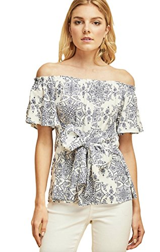 Entro Women's Bohemian Casual Off Shoulder Top with Short Flutter Sleeves and Front Waist Tie
