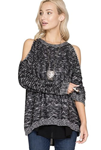 She + Sky Women's Long Sleeve Cold Shoulder Pullover Sweater with Chiffon Contrast Back