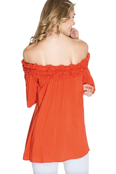 She + Sky Women's Solid Colored Off Shoulder Tunic With Ruffled Bodice and Half Sleeves