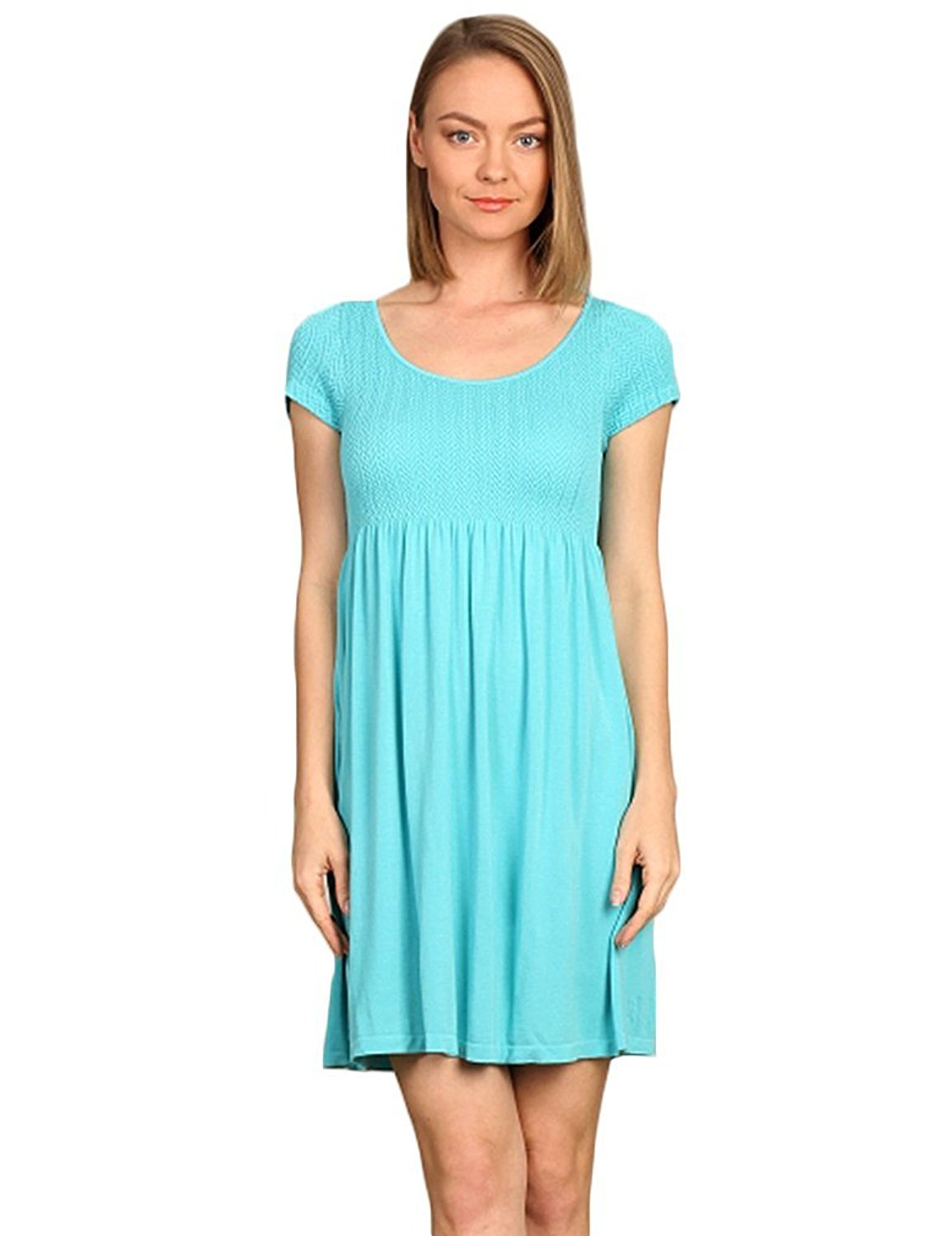 M. Rena Cap Sleeve Scoop Neck Knit Babydoll Mini Dress