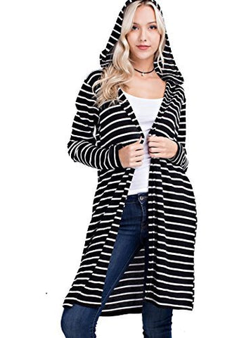 Mittoshop Women's Junior Long Thermal Stripe Hoodie Cardigan W/ Pockets J3035
