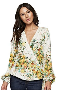 Love Stitch Women's Long Sleeve Floral Surplice Wrap Blouse
