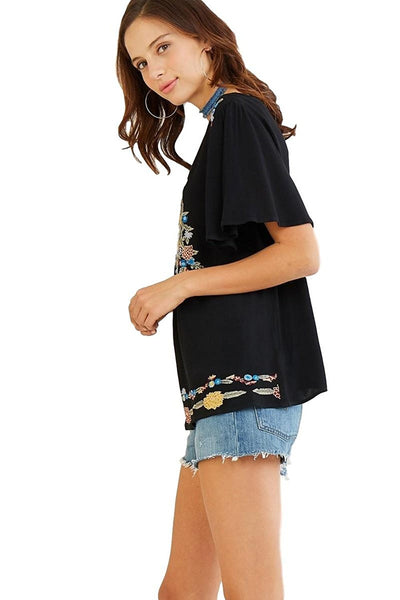 Entro Women's Crew Neck Tunic with Floral Embroidery and Short Flutter Sleeves