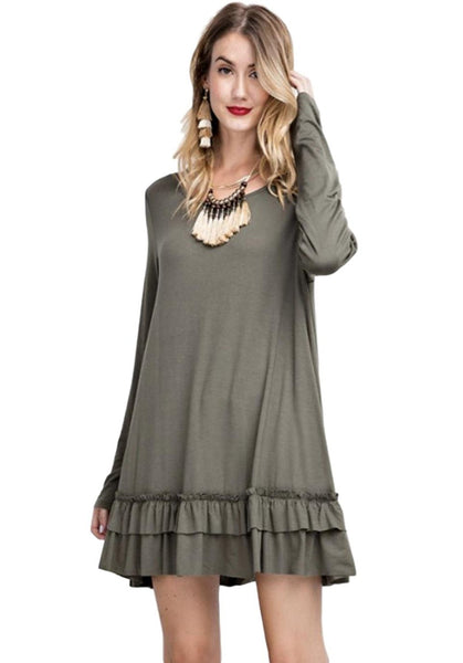 Easel Women's Ruffle Hem Tunic Top Long Sleeve