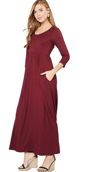 Entro Women's Scoop Neck Solid Colored Knit Maxi Dress with 3/4 Sleeves and Side Pockets