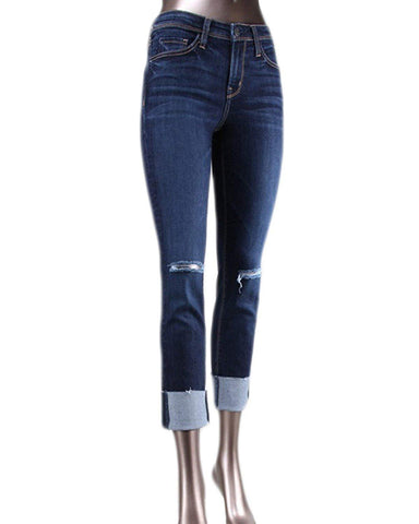Flying Monkey Y1736 Mid Rise Straight Leg Raw Hem Denim in Blue Ringer
