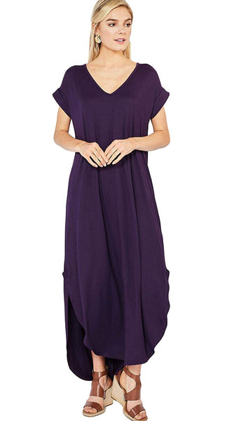 Entro Women's Short Sleeve V Neck Knit Maxi Dress with Hi Low Hem