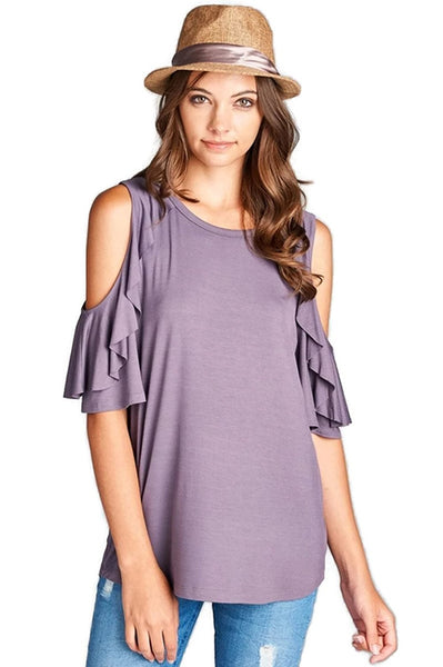 Oddi Women's Cold Shoulder Ruffled Bell Sleeve Tunic Top