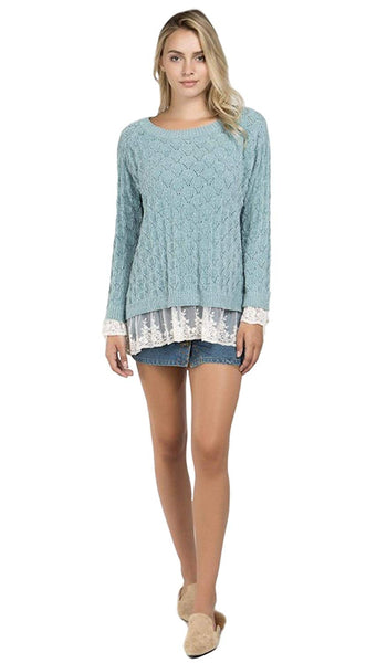 POL Women's Soft Chenille Acrylic Knit Scoop Neck Pullover Sweater with Lace Trim