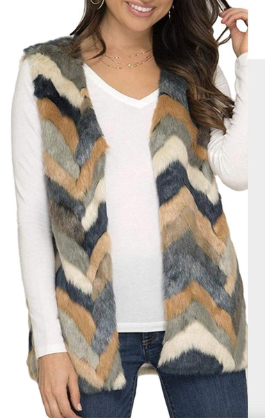 She + Sky Women's Multi-Colored Chevron Faux Fur Vest with Pockets
