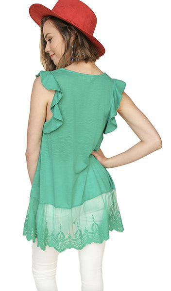Umgee Women's Slub Knit Sleeveless Top with Lace Trim and Ruffle Shoulder Details