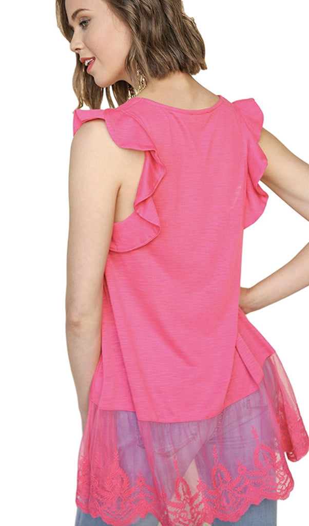 0ab86c4507862f ... Umgee Women s Slub Knit Sleeveless Top with Lace Trim and Ruffle  Shoulder Details ...