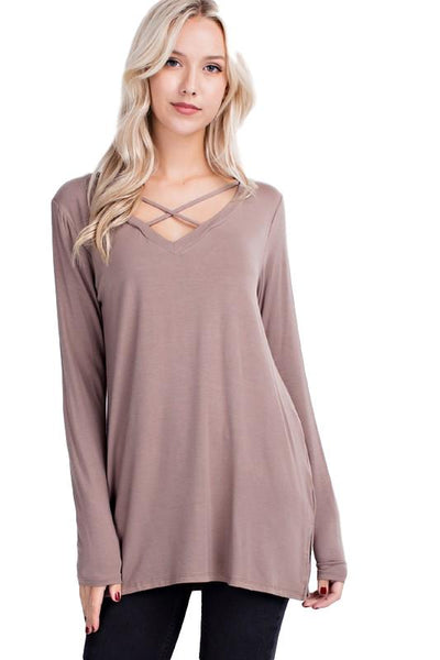 Mittoshop Bamboo Knit Long Sleeve Criss Cross V-Neck Tunic - Sizes S to 2X