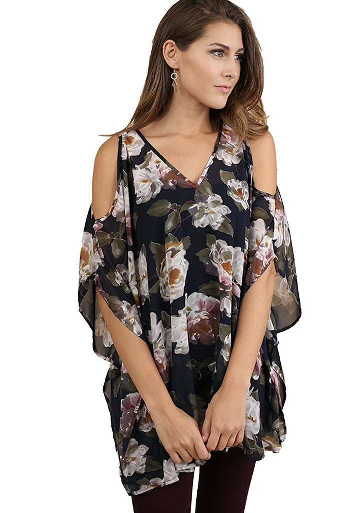 Umgee Women's Bohemian Floral V Neck Cold Shoulder Tunic in Misses and Plus Sizes