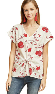 Entro Women's Short Sleeved V-Neck Blouse with Floral Embroidery and Front Waist Tie