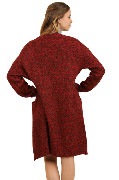 Umgee Women's Heathered Open Front Long Cardigan Sweater With Pockets