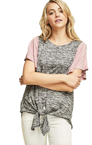 Entro Women's Two-Tone Color Block Knit Crew Neck Tunic with Short Flutter Sleeves and Front Waist Tie