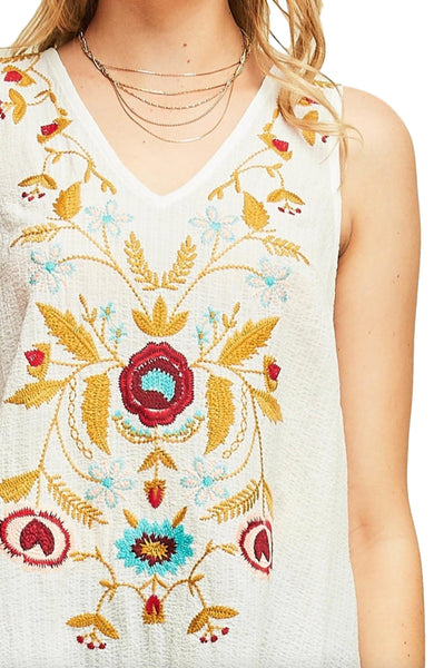 Entro Women's Sleeveless V Neck Tunic With Floral Embroidery and Ruffled Hem