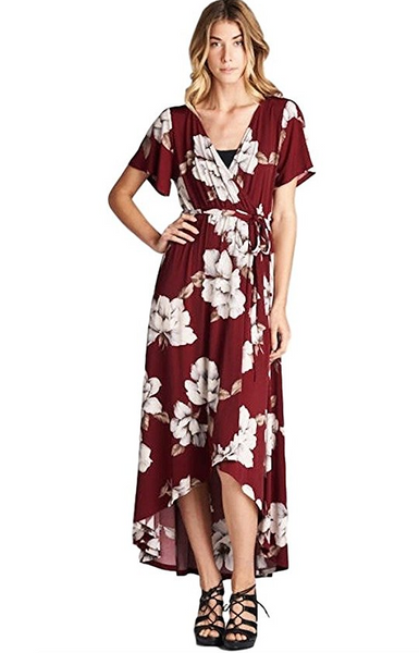 Tua USA Hi Low Exotic Bohemian Print Stretch Knit Wrap Maxi Dress