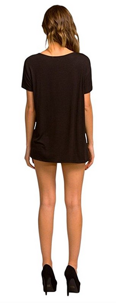 Cherish Short Sleeve Knit Top with Criss Cross Strap Neckline Details