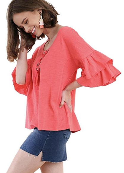 Umgee Women's Layered Ruffle Bell Sleeve Knit Top With Lace Up Neckline