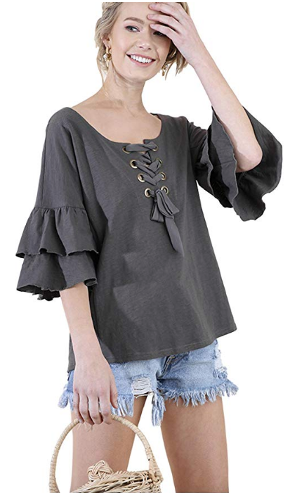c7f633f4018 Umgee Women s Layered Ruffle Bell Sleeve Knit Top With Lace Up Necklin