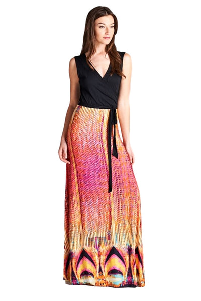 Tua USA Women's Sleeveless Print Surplice Long Maxi Dress