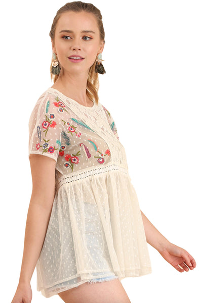Umgee Women's Short Sleeve Polka Dot Babydoll Tunic Top With Crochet Lace and Floral Embroidery