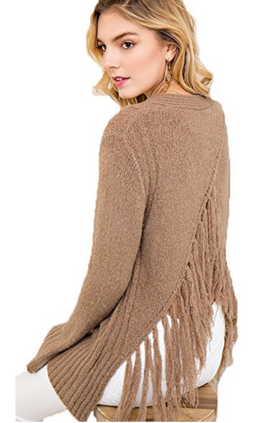 Entro Women's Sweater with Strappy Neckline and Fringe Back